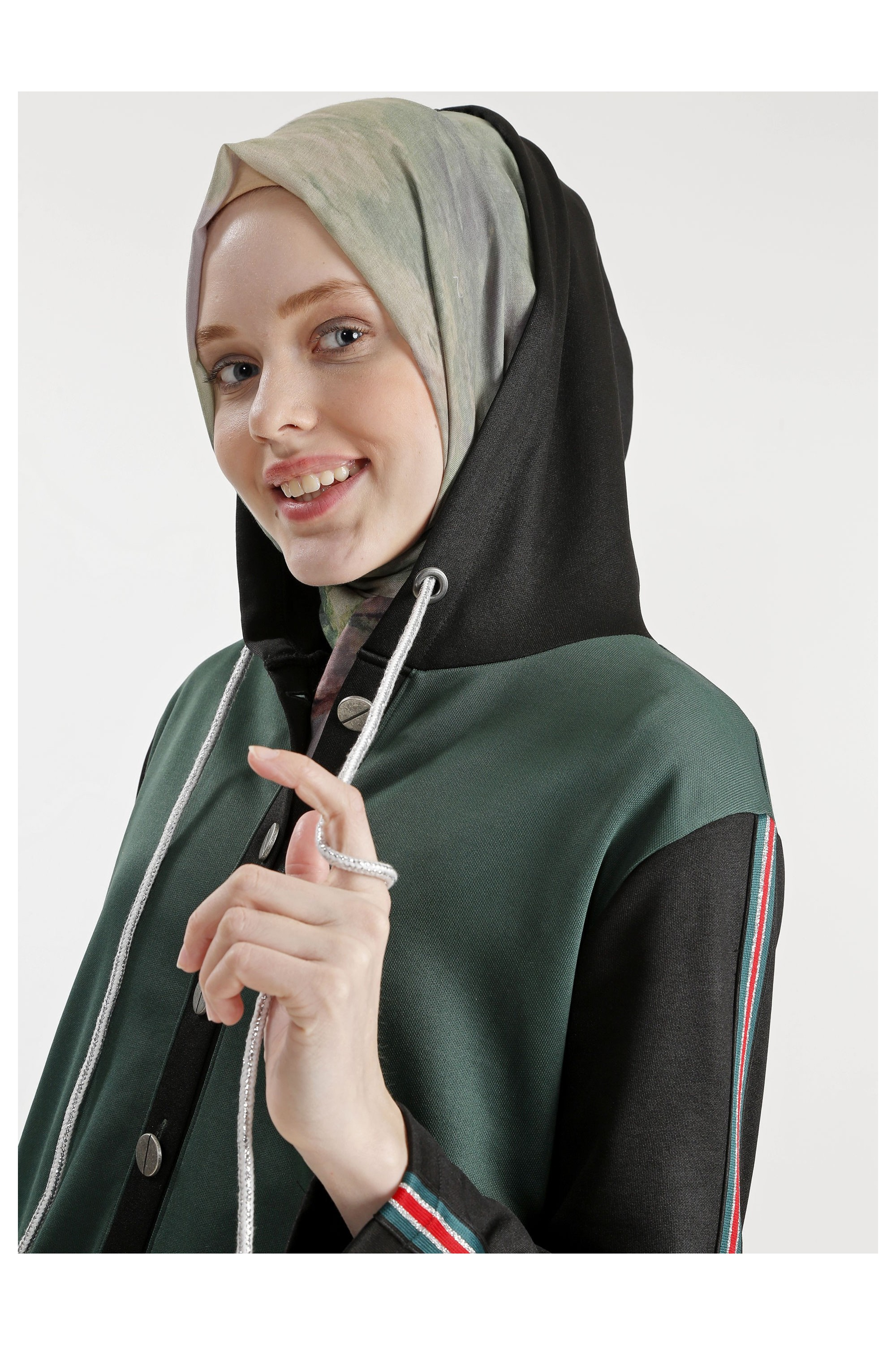 Hooded Buttoned Abaya