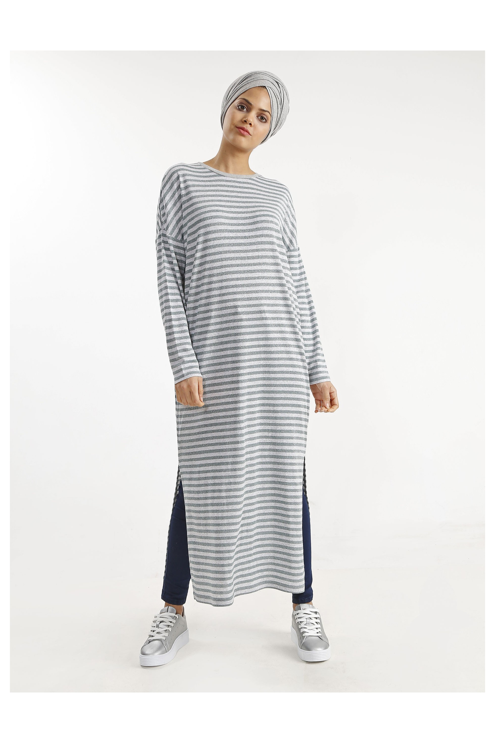 Stripe Glitter Long Tunic