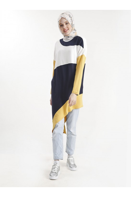 Block Colored Asymmetric Cutting Tunic