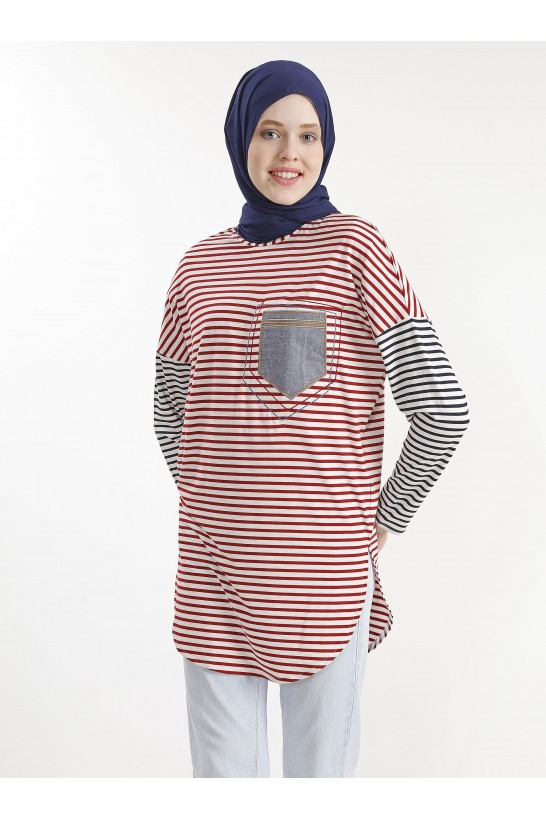 Striped Embroidered Tunic - Red