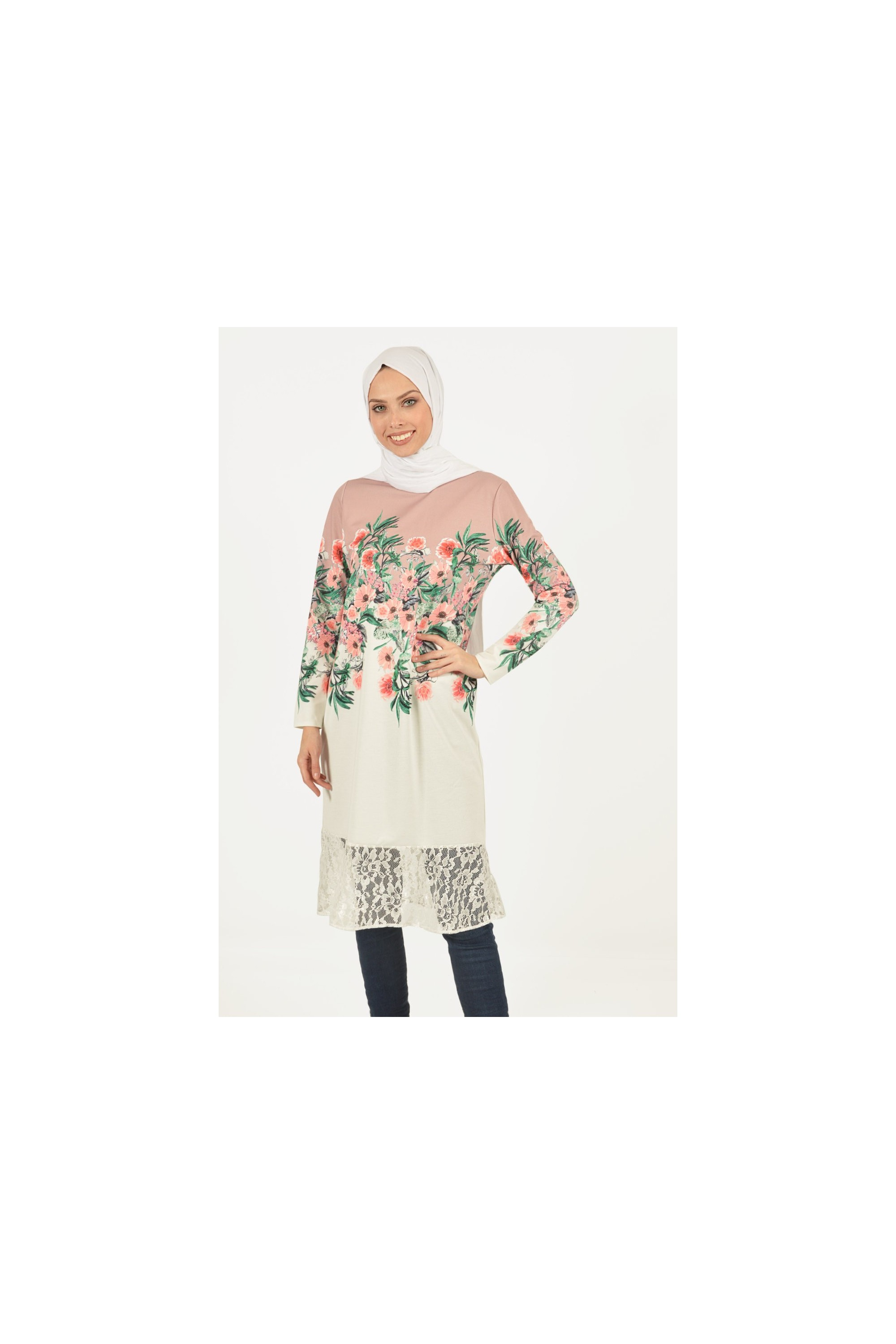 Lacy Floral Patterned Tunic