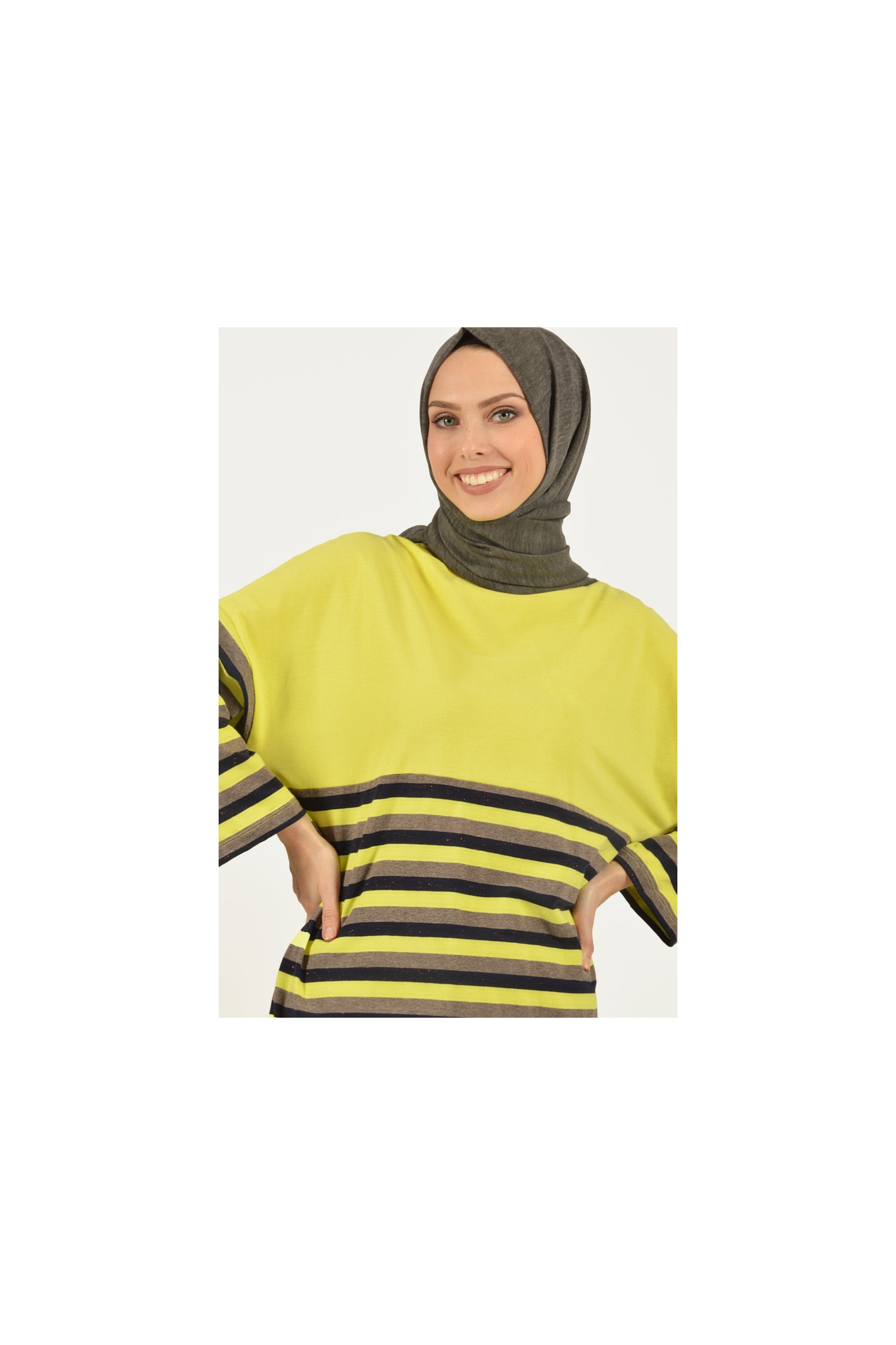 Hıgh neck Striped Tunic