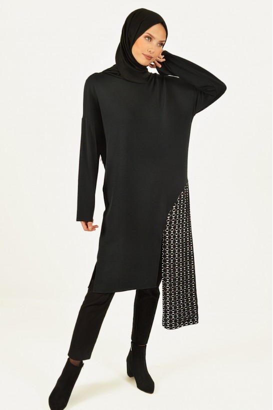 Lace Detailed Asymmetric Cut Tunic
