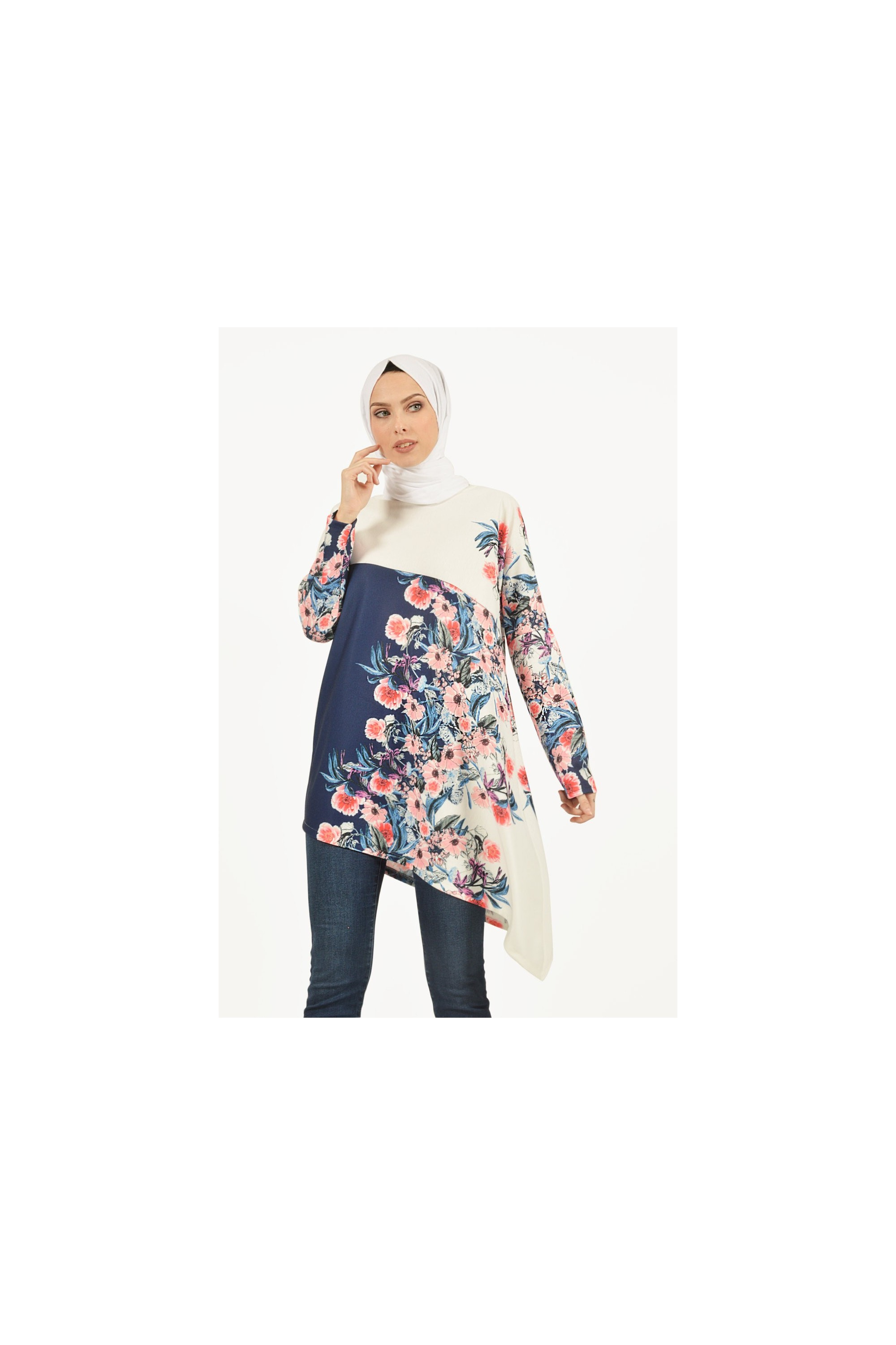 Floral Patterned Asymmetric Tunic