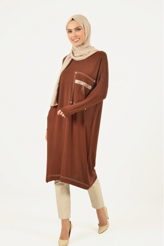 Accessory Detailed Oversize Knit Tunic