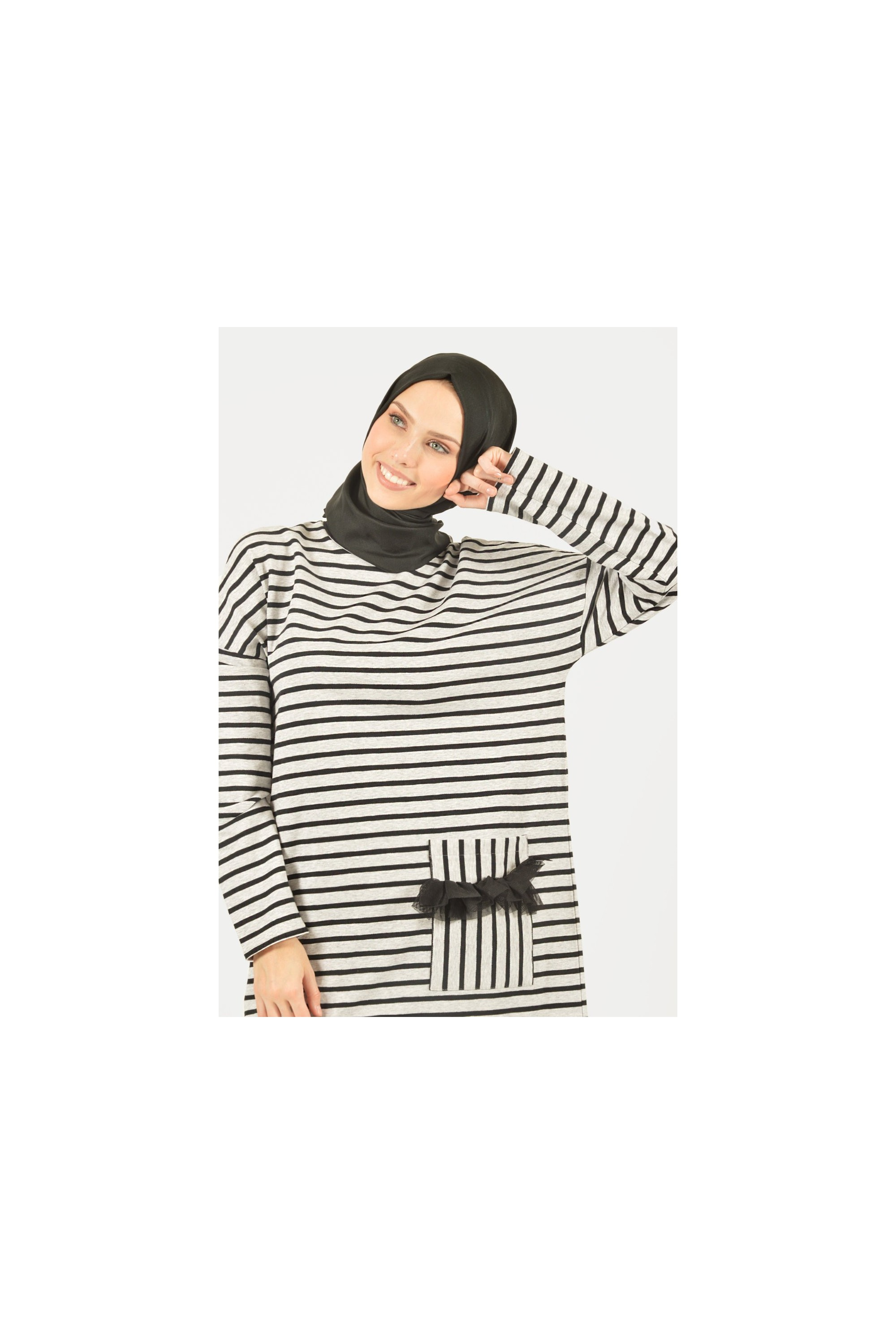 Tulle and Pocket Detailed Striped Tunic