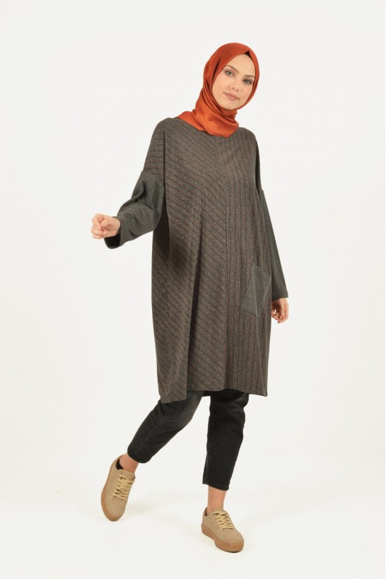 Glittered Striped Pocket Detailed Tunic