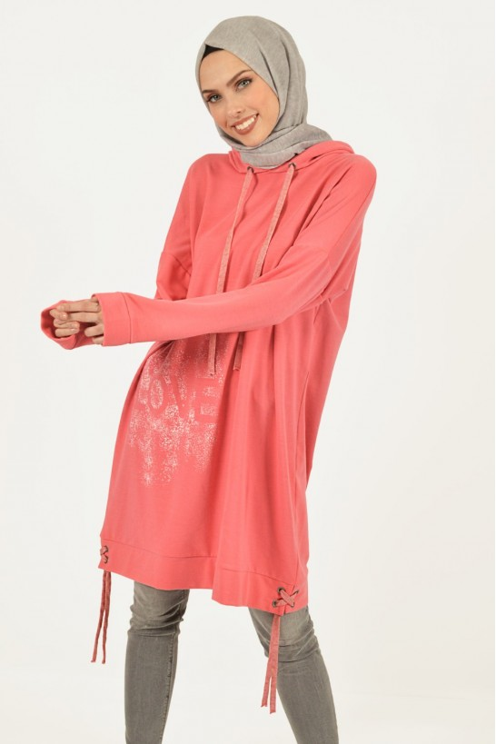 Eyelet Detail Printed Tunic