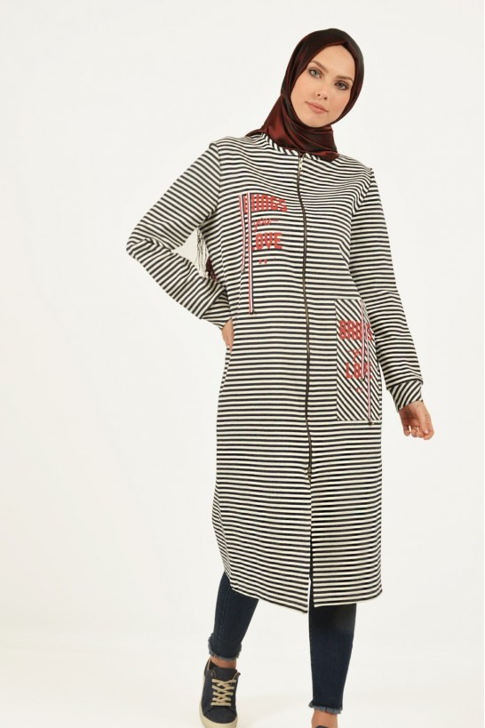 Striped Zippered Topcoat