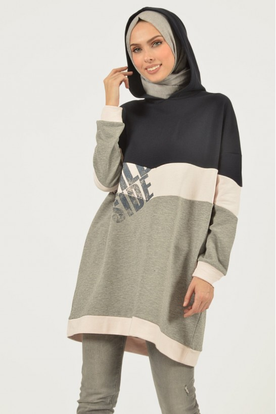 Printed Oversized Hooded Sweatshirt