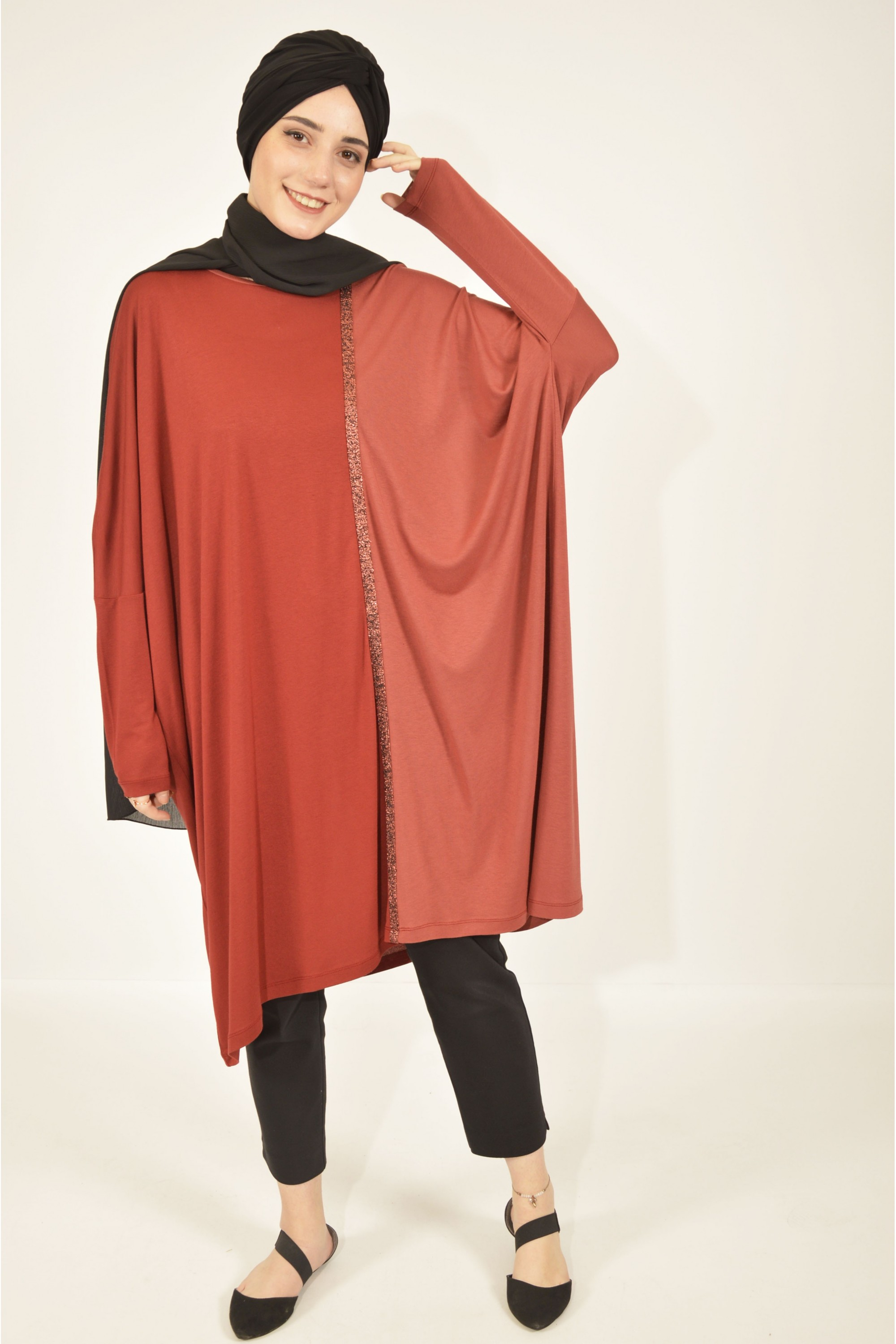 Silvery Ribbon Detailed Oversized Tunic