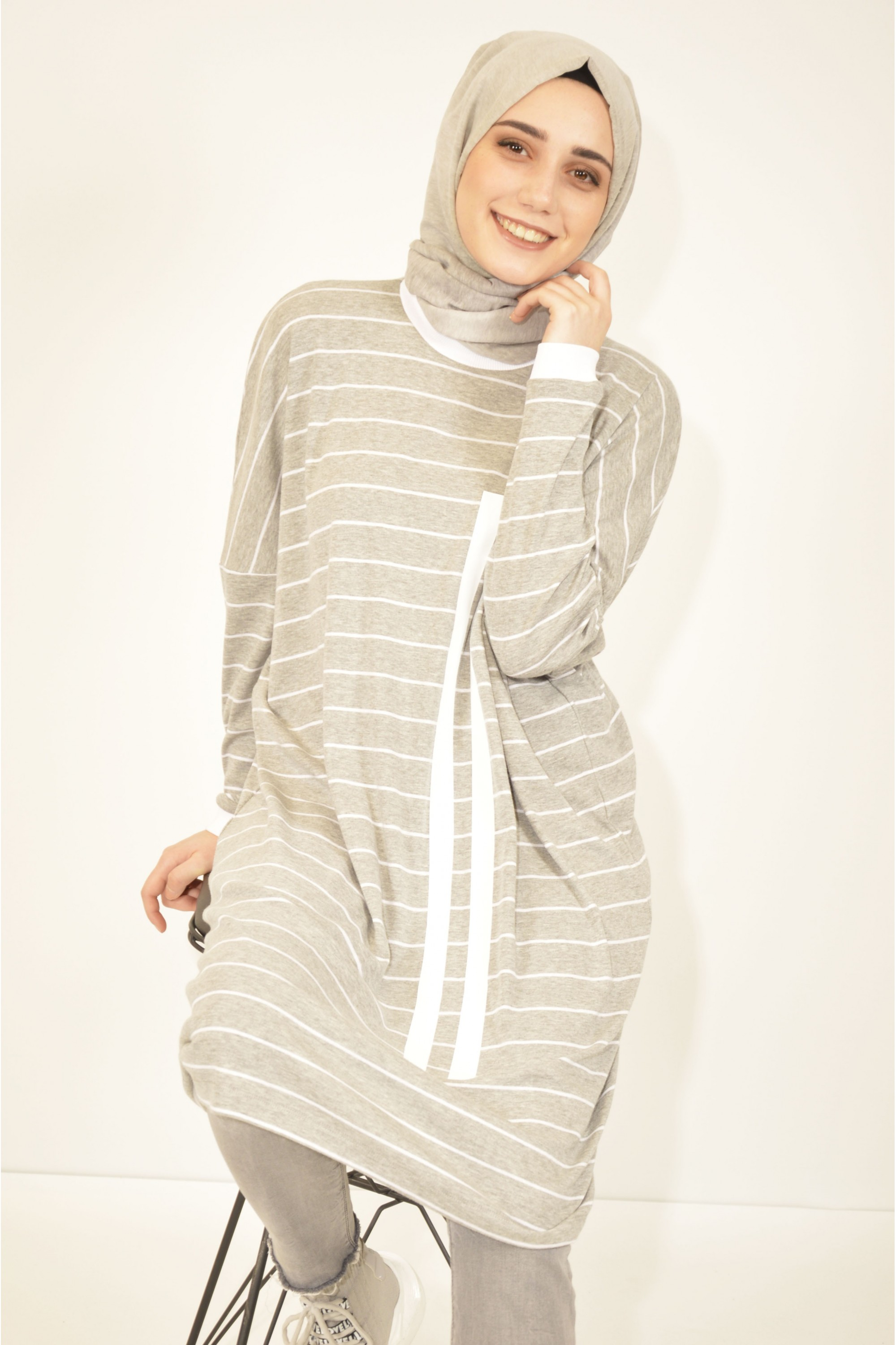 Printed Striped Loose Tunic