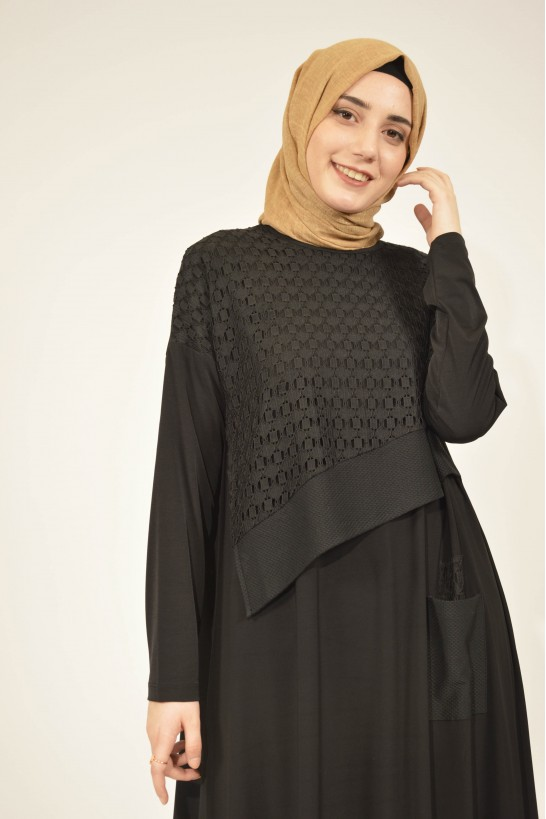 Lace Detailed Pocket Loose Tunic