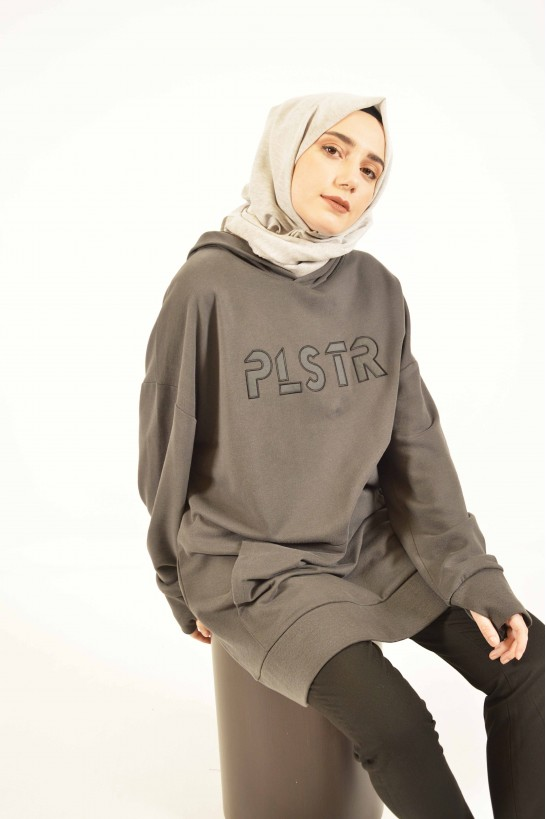Plistre Embroidered Hoodie Grey