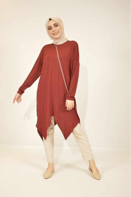Strip Detailed Asymmetric Tunic