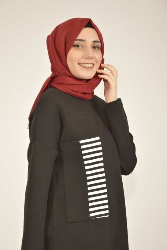 Striped Tunic with Pocket Detail