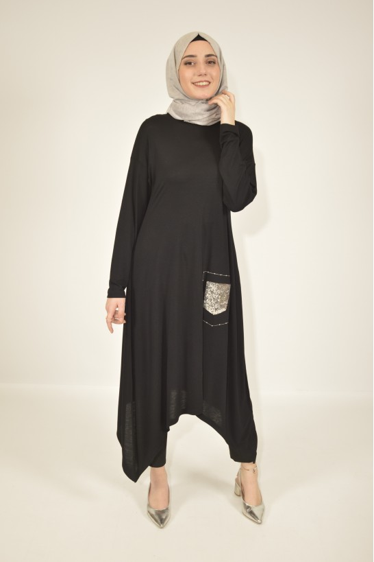 Embroidered Asymmetric Cut Tunic