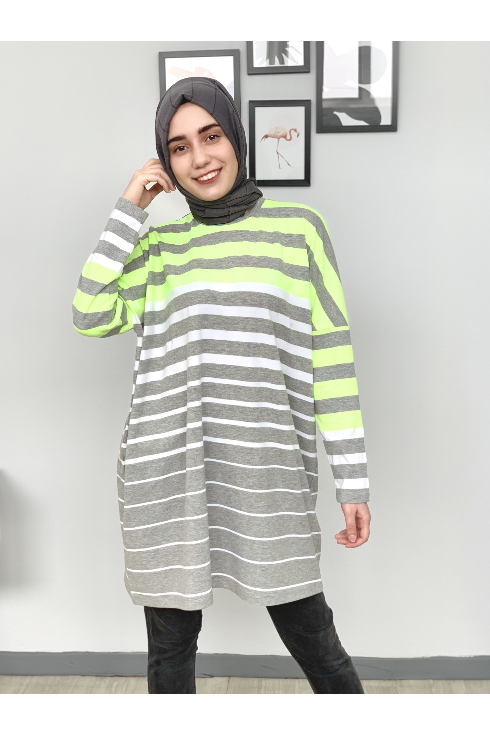 Neon Striped Basic Tunic
