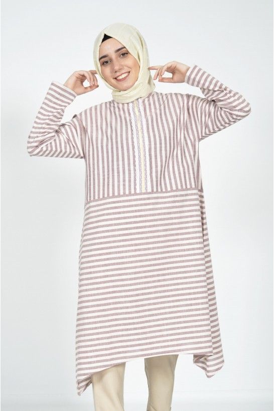 Striped Detailed Striped Shirt
