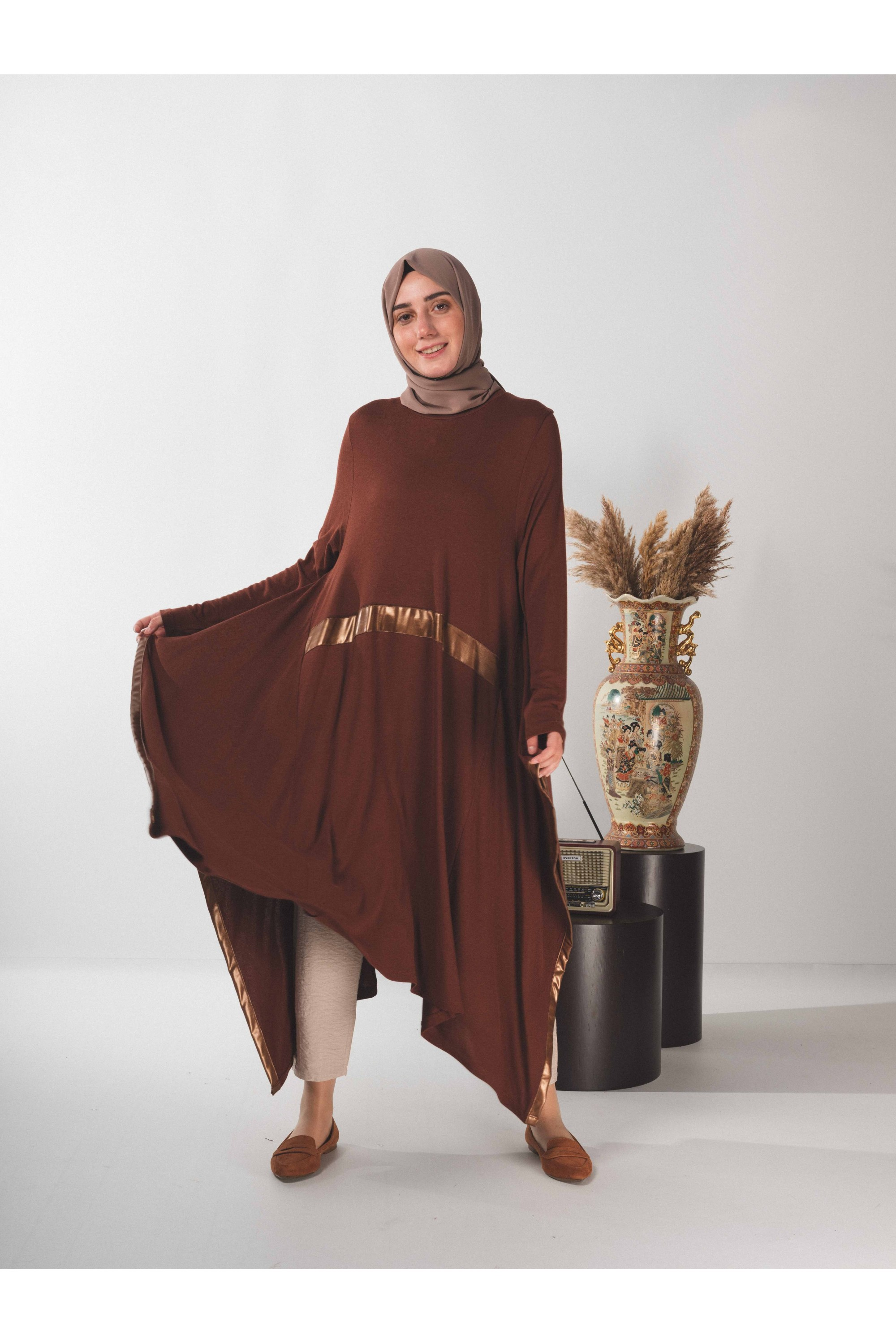 Asymmetric Tunic With Leather Pieces
