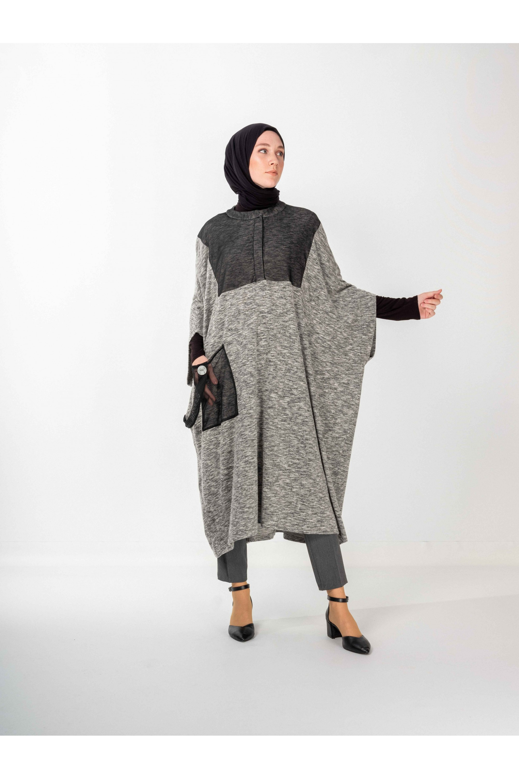 Oversize Poncho With Pockets
