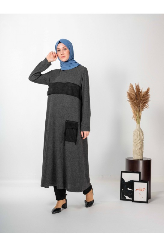 Long Tunic With Mesh And Pocket Detail