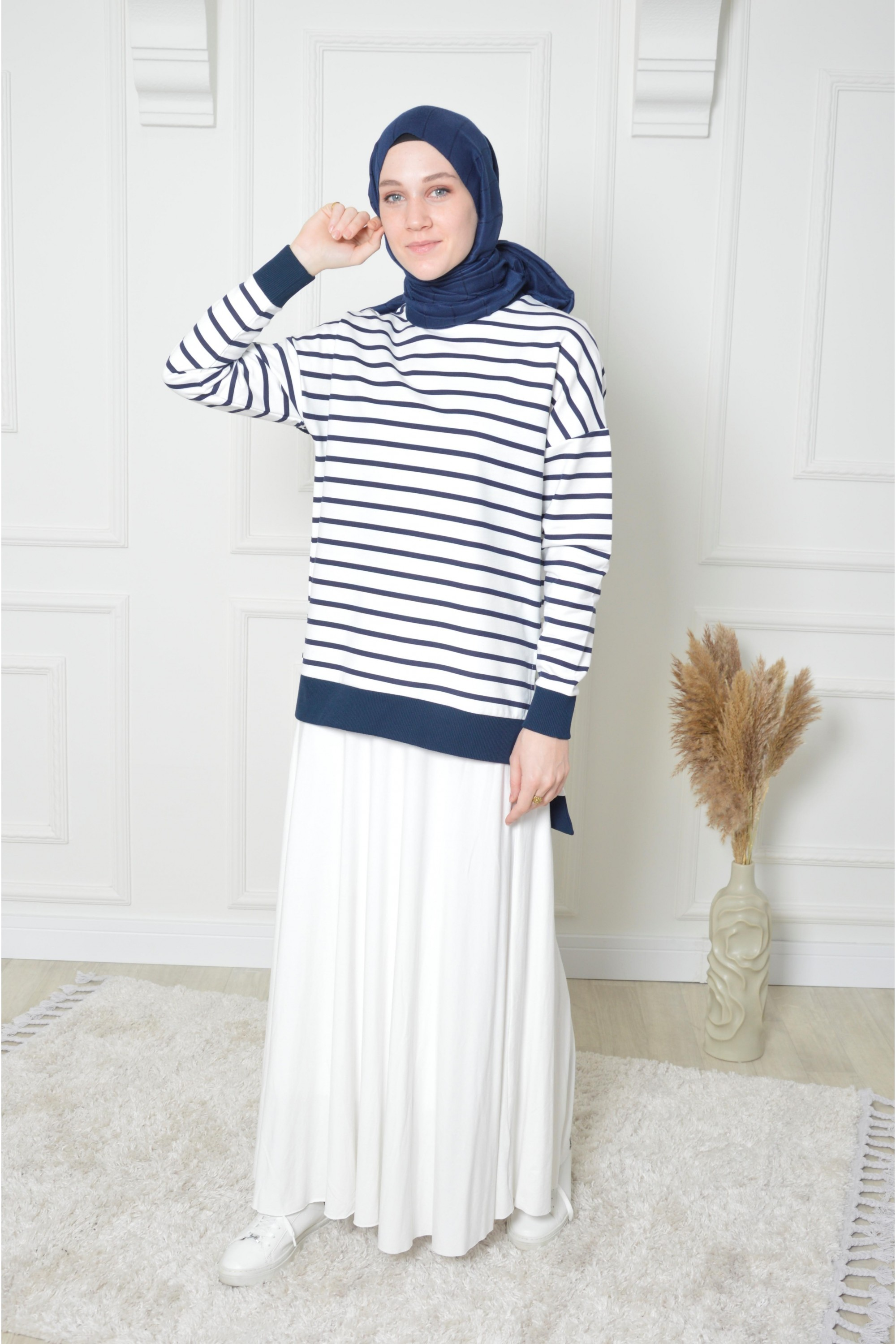 Striped Tunic & Pleated Skirt Double Suit