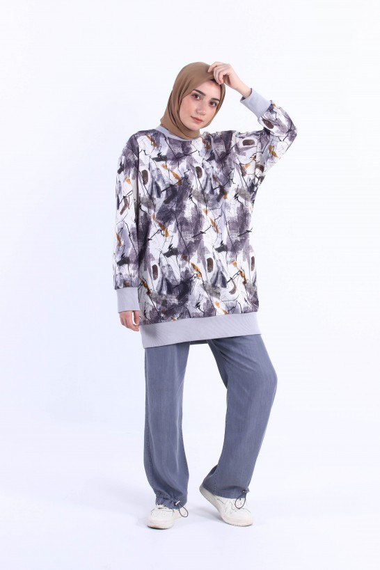 Patterned Oversize Sweatshirt