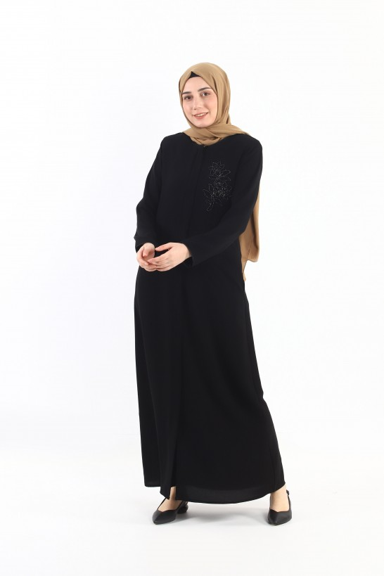 Embroidered Abaya Black