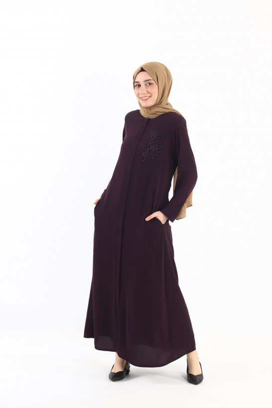 Embroidered Abaya Purple