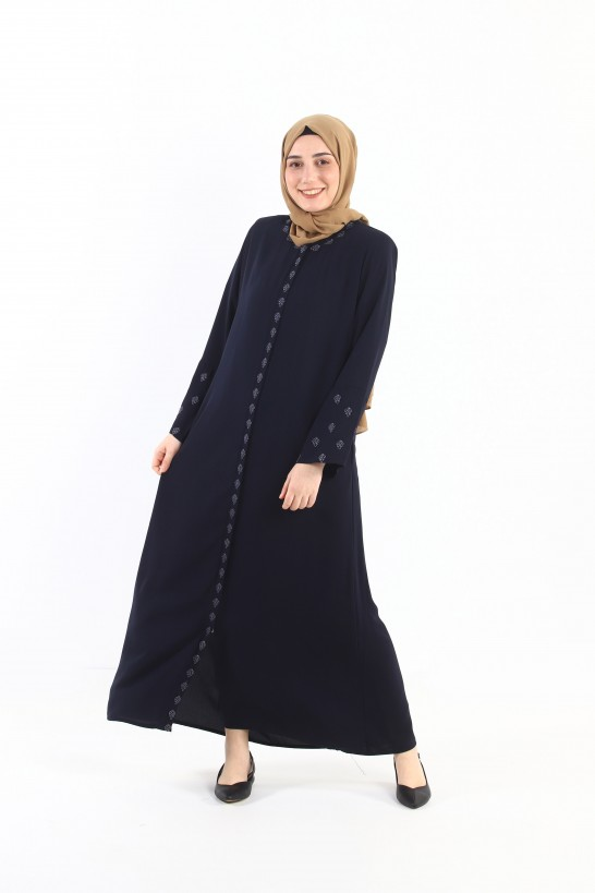 Embroidered Zippered Abaya Navy