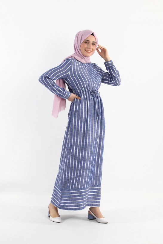 Gathered Waist Striped Dress