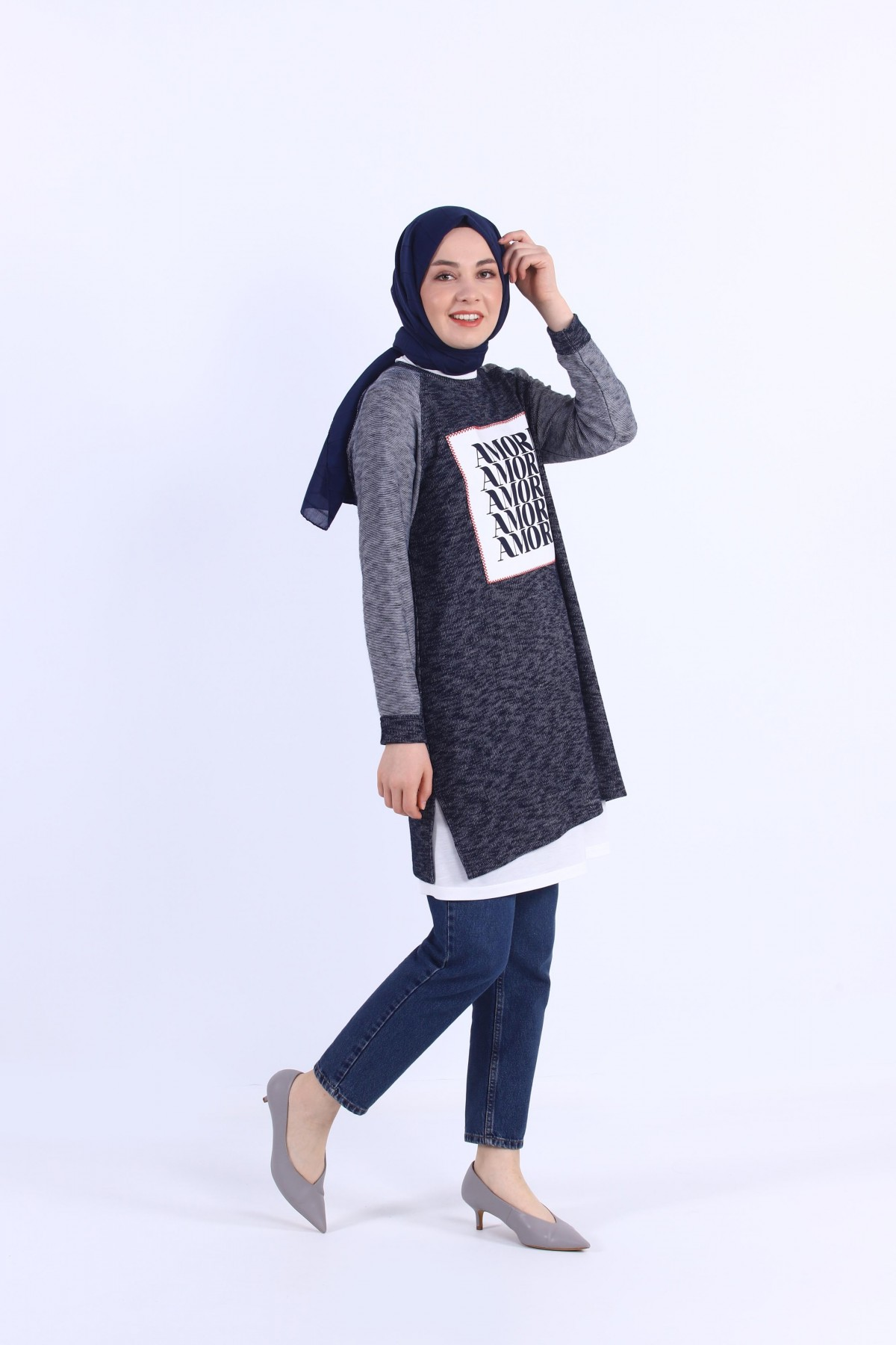 Double tunic with patch detail