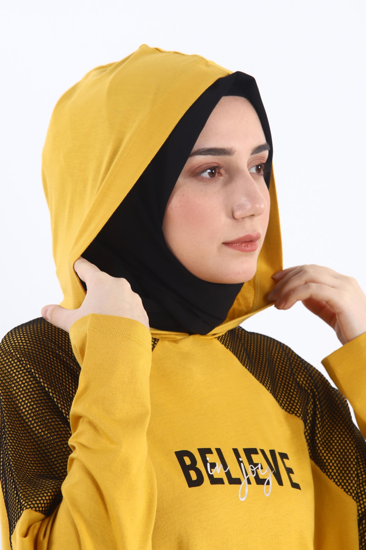 Hooded Oversize Tunic with Mesh Pieces