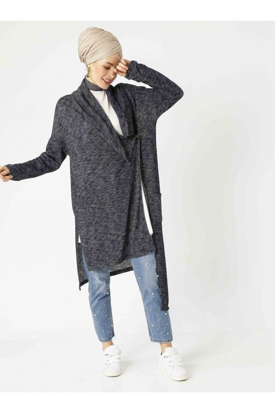Asymmetric Cutting Knit Cardigan