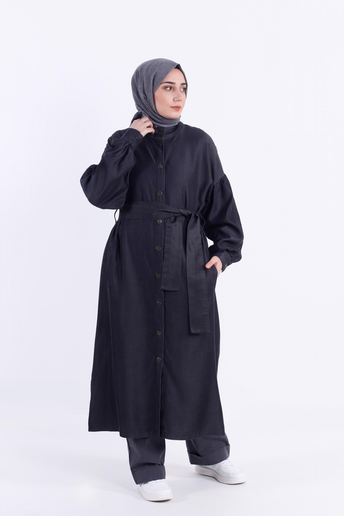 Belted Tencel Cape with Snap