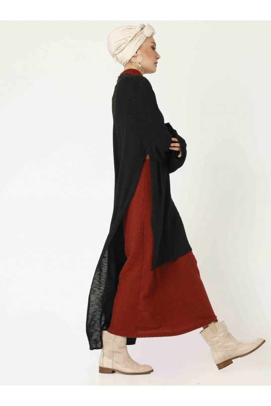 Oversize Asymmetric Cutting Knit Cardigan