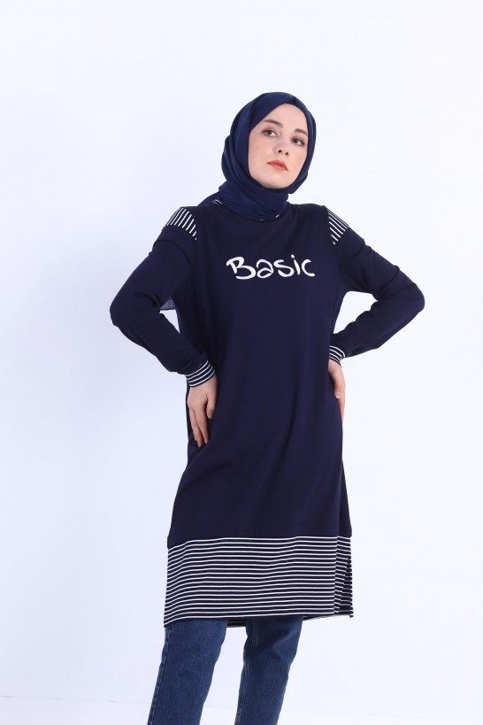 Striped Basic Embroidered Tunic