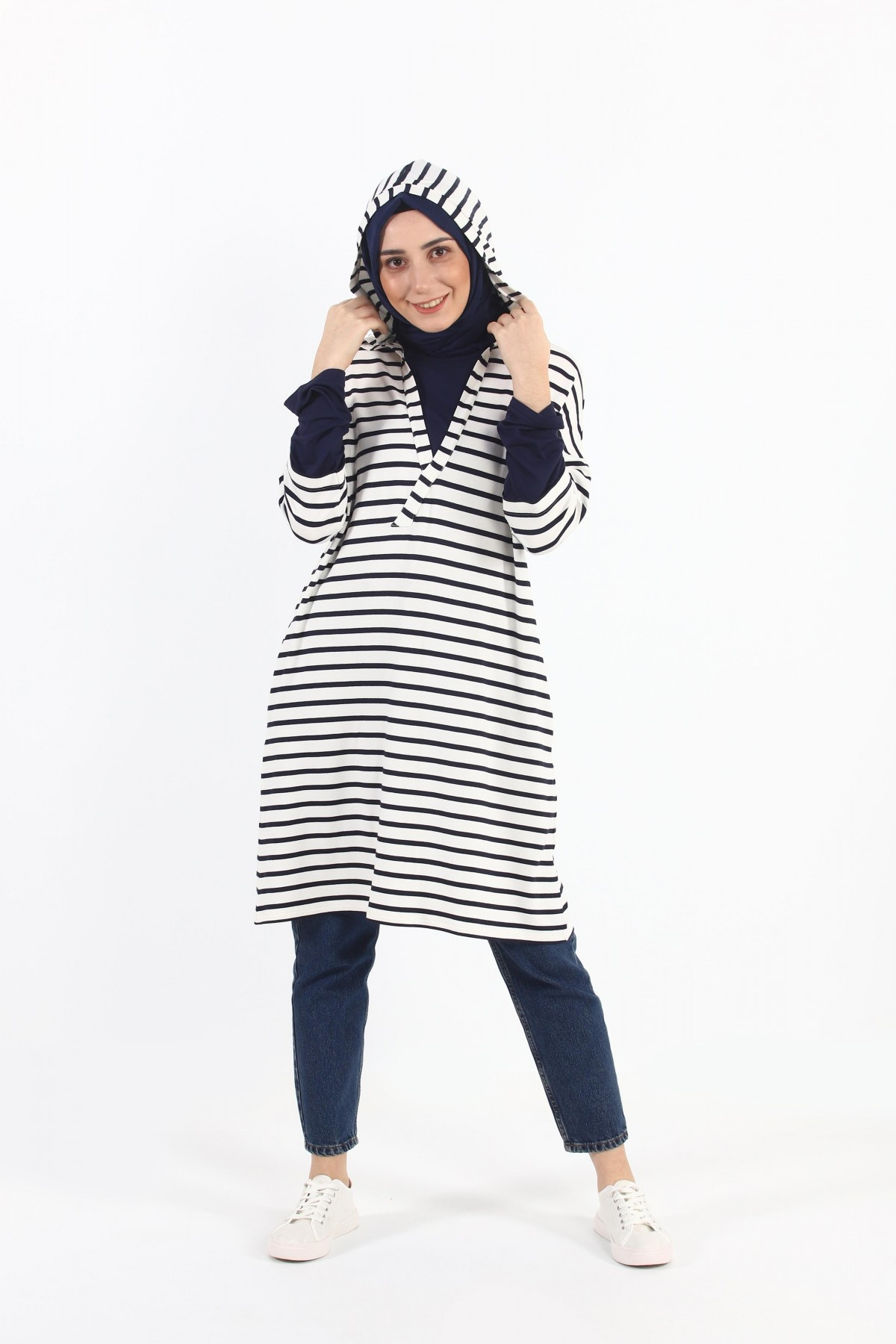 Striped Hooded Oversize Tunic