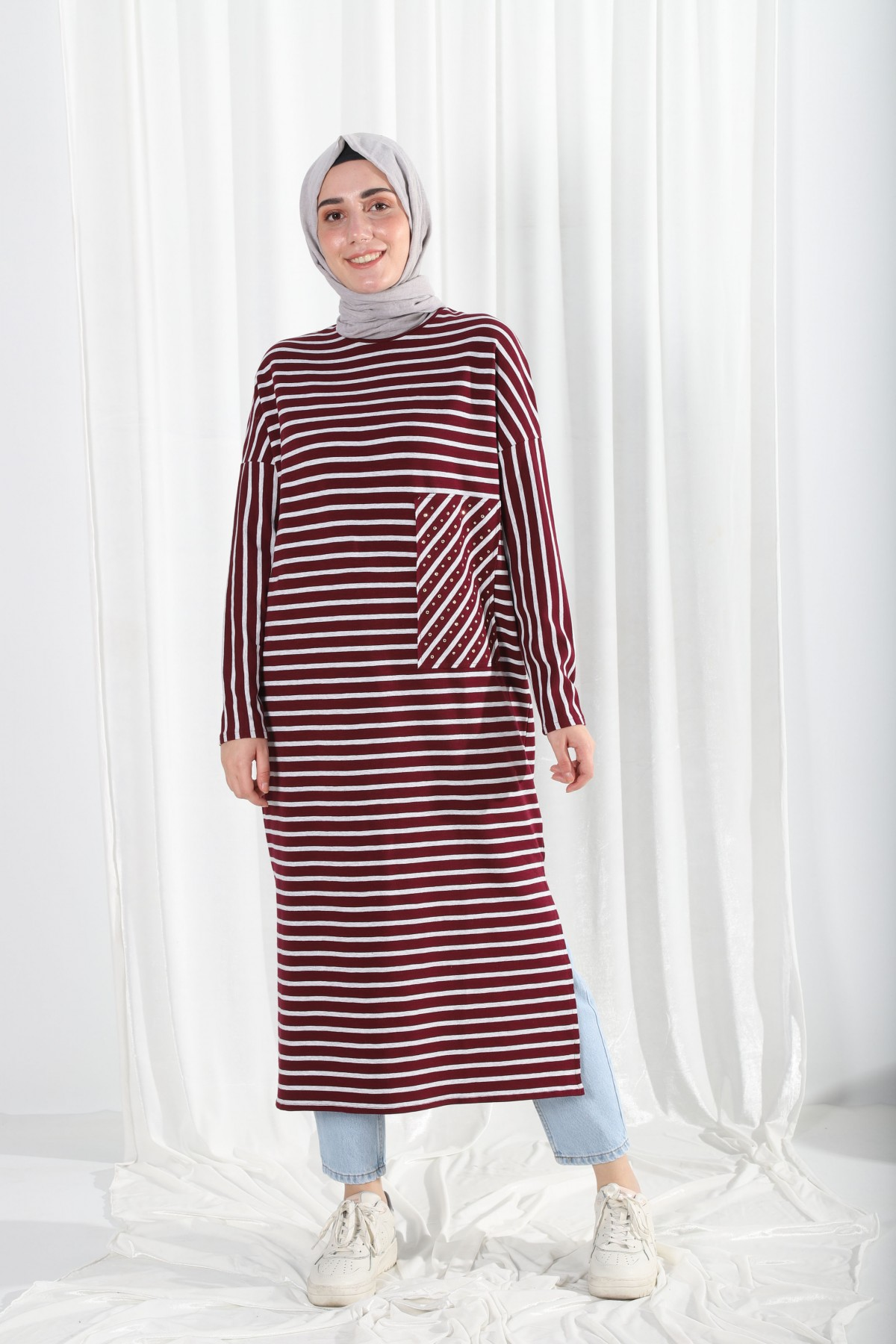 Striped Long Tunic with Stone Slit